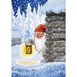 5-pack Julkort Tomte med Lykta
